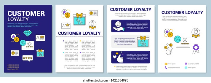 Referral marketing customer loyalty brochure template layout. Flyer, booklet, leaflet print design with linear illustrations. Vector page layouts for magazines, annual reports, advertising posters