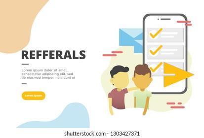 Referral Marketing flat design banner illustration concept for digital marketing and business promotion