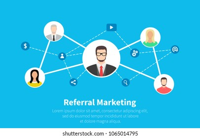 Referral marketing, network marketing, business partnership, referral program strategy. Flat cartoon design, vector illustration on background