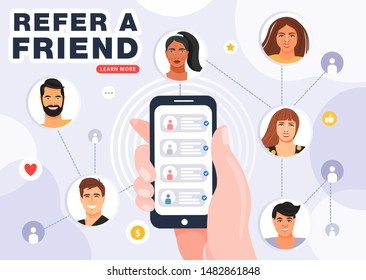 Referral program banner. Hand holding phone with contacts of friends. Referral network scheme, which contains people avatars connected to each other. Vector.