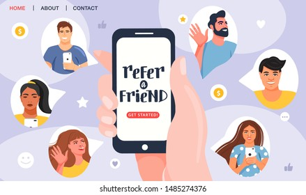 Referral program concept. Hand holding phone. Business partnership strategy with group of people. Network marketing, referring friends, affiliate marketing concept. Landing page template. Vector.