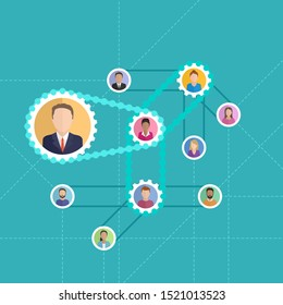 Referral program concept - people avatars (userpic) connected with hierarchical chain drive (gearbox) mechanism - vector marketing illustration