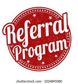Referral program grunge rubber stamp on white background, vector illustration