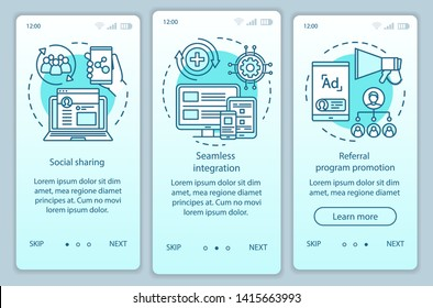 Referral program key items onboarding mobile app page screen with linear concepts. Three walkthrough steps graphic instructions. Customer attraction. UX, UI, GUI vector template with illustrations