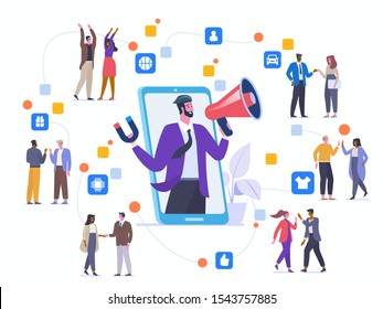 Referral program strategy flat vector illustration. Friends communicating and promoting each other goods cartoon characters. Internet marketing. Affiliate network. Word of mouth marketing method