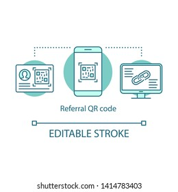Referral QR code concept icon. Friend invitation link, Qr code idea thin line illustration. Technical protection system. Smm, social networking. Vector isolated outline drawing. Editable stroke