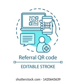 Referral QR code concept icon. User authorization, registration idea thin line illustration. Referral friend, new customer invitation. Create account. Vector isolated outline drawing. Editable stroke