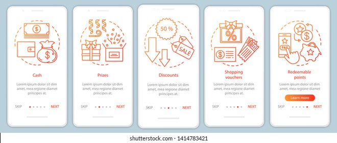 Referral rewards onboarding mobile app page screen with linear concepts. Walkthrough steps graphic instructions. Cash, prizes, discounts. UX, UI, GUI vector template with illustrations
