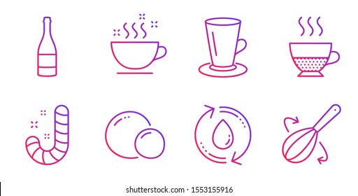 Refill water, Peas and Champagne bottle line icons set. Coffee cup, Teacup and Doppio signs. Candy, Cooking whisk symbols. Recycle aqua, Vegetarian seed. Food and drink set. Vector