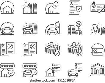Refinance line icon set. Included icons as mortgage, loan,interest rate, asset, home, car and more.