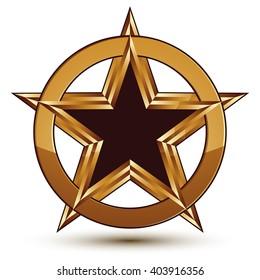 Refined vector black star emblem with golden outline, 3d pentagonal design element. 3d golden ring, polished glossy signet.