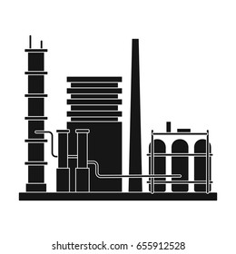 Refinery.Oil single icon in black style vector symbol stock illustration web.