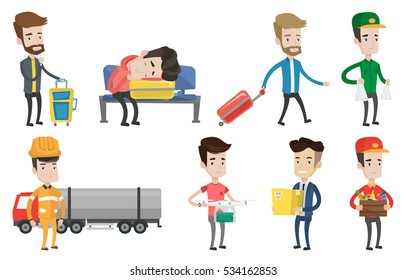 Refinery worker of oil and gas industry. Refinery worker standing on the background of fuel truck. Man working at refinery plant. Set of vector flat design illustrations isolated on white background.