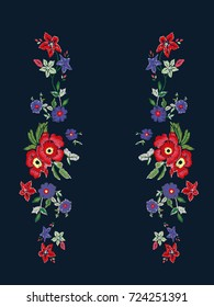 reflect flowers embroidery illustration design