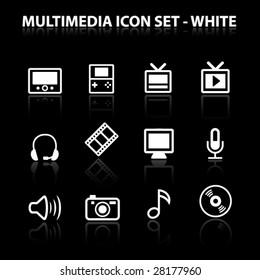 Reflect Multimedia Icon Set (White)