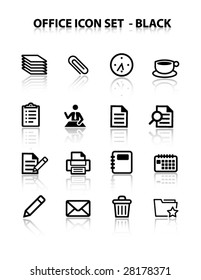 Reflect Office Icon Set (Black)