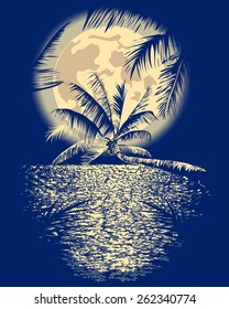 reflected in the ocean full moon on Vagator, Goa, India on a dark blue background with silhouettes of palm trees