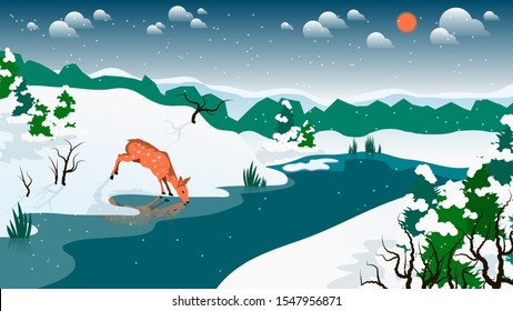 reflected in the water, wild roe deer drinks from a river flowing among snowy hills and fields with coniferous trees against a forest and sky with the sun, clouds and snowflakes. winter natural landsc