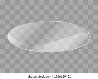 Reflecting ellipse, oval glass banner on transparent background