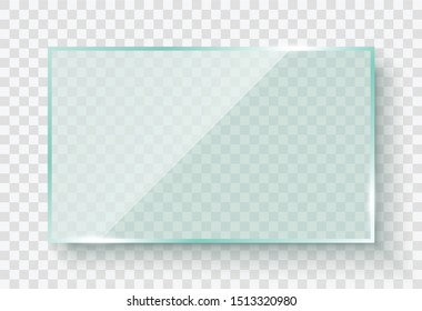 Reflecting glass banners on transparent background. Vector glass frame. Flat glass - stock vector.