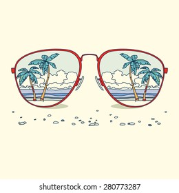 Reflection of the beach, palm trees, beach in sunglasses. Vector background