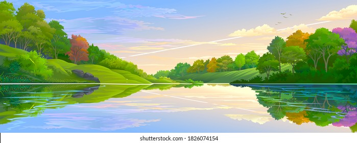 A reflection of the clouds, trees and a lush green forest. Illustration of nature of jungle and river.