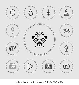 Reflection icon. collection of 13 reflection outline icons such as mirror, water drop, motorcycle, test tube, treble clef, play. editable reflection icons for web and mobile.
