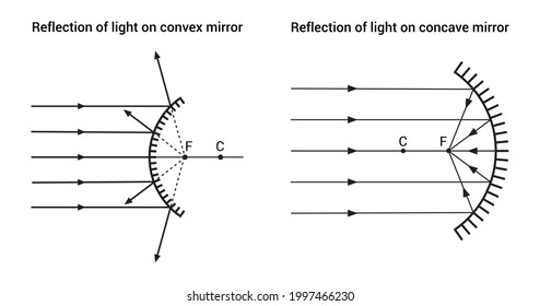 reflection of light on concave and convex mirror