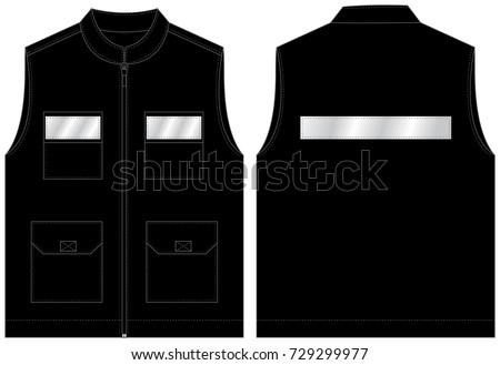 reflective stripe on black vest template のベクター画像素材