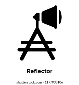 Reflector icon vector isolated on white background, logo concept of Reflector sign on transparent background, filled black symbol