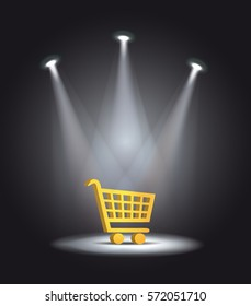 reflector light shopping cart vector