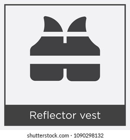 Reflector vest icon isolated on white background with gray frame, sign and symbol, reflector vest vector iconic concept