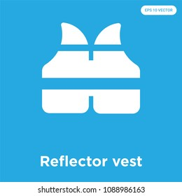 Reflector vest vector icon isolated on blue background, sign and symbol, reflector vest vector iconic concept