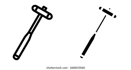 Reflex Hammer in Outline and Glyph Icon