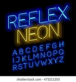 Reflex Neon font vector illustration