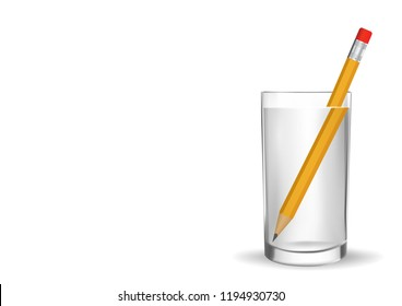 Refraction of light. Water causes light to deflect. So we see the pencil under the water is bigger and different from the actual position. Illustration Vector EPS10 on White background.