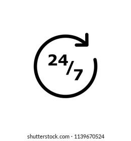 refresh 24/7 vector icon