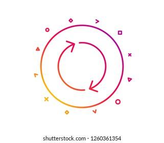 Refresh arrow line icon. Rotation Arrowhead symbol. Navigation pointer sign. Gradient pattern line button. Refresh icon design. Geometric shapes. Vector