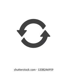 Refresh arrows vector icon. filled flat sign for mobile concept and web design. Two circular arrow glyph icon. Symbol, logo illustration. Pixel perfect vector graphics