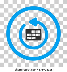 Refresh Calendar rounded icon. Vector bicolor illustration style is a flat iconic symbol inside a circle, blue and gray colors, transparent background. Designed for web and software interfaces.
