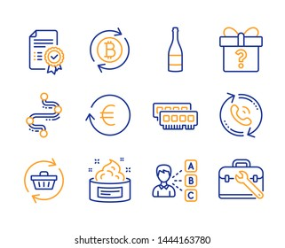 Refresh cart, Timeline and Opinion icons simple set. Secret gift, Exchange currency and Champagne bottle signs. Certificate, Call center and Refresh bitcoin symbols. Line refresh cart icon. Vector