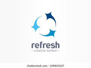Refresh circle creative symbol concept. Clean star, mix, group of three abstract business logo. Fresh wash, arrow rotate, laundry service icon. Corporate identity logotype, company graphic design