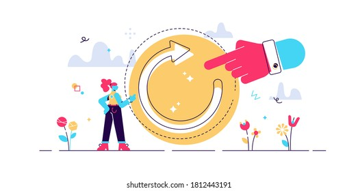 Refresh concept, flat tiny person vector illustration. Restart project with a new vision or rework the strategy. Renew life goals and direction. Reload new system updates abstract stylized symbol.