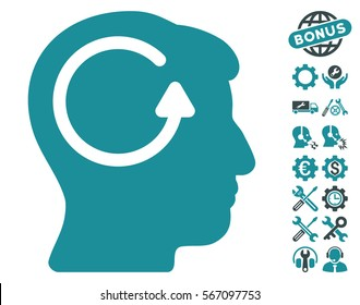 Refresh Head Memory icon with bonus options symbols. Vector illustration style is flat iconic soft blue symbols on white background.