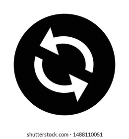 refresh icon in black circle and isolated vector illustration