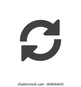 Refresh icon in black on a white background. Vector illustration