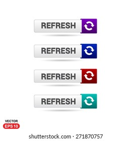 Refresh Icon Button. Abstract beautiful text button with icon. Purple Button, Blue Button, Red Button, Green Button, Turquoise button. web design element. Call to action gray icon button
