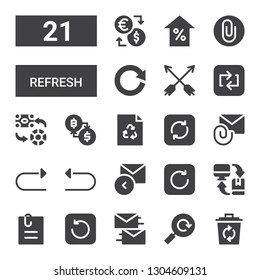 refresh icon set. Collection of 21 filled refresh icons included Recycle, Reload, Exchange, Refresh, Attached file, Reply, Undo, Redo, Attachment, Repeat, Arrows, Attach, Arrow