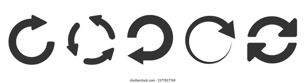 Refresh icon set isolated on white. Vector illustration.