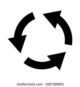 Refresh icon. Three circle arrows icon. Vector illustration